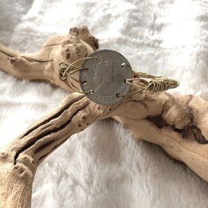 Coin + Guitar String Bangle Bracelet - Handcrafted